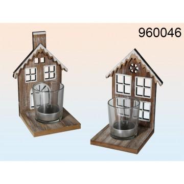 Casa di legno con vetro, portalumini, ca 15 x 11 cm, 2 ass.