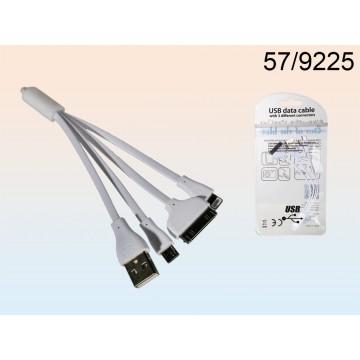 Cavo USB con 3 attacchi, ca. 10 cm, in sacchetto di plastica da