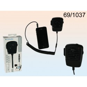 Cornetta del telefono in plastica, Radiotrasmittente, ca. 9 cm, per 2 pile micro (AAA) in confezione con header card