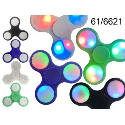 Crazy Gyro Spinner in plastica, con LED (pile incl.) ca. 7,5 cm, 4 colori ass., 24 pz. per display