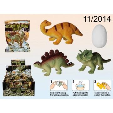 Dinosauro che sguscia dall'uovo frizzante, ca. 5 cm, 6 ass., 24 pz. per display,