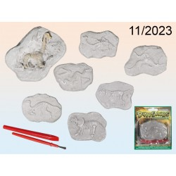 Kit per scavi, Scheletro di Dinosauro, ca. 8 x 6 cm, 6 ass., su blister