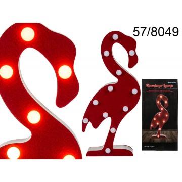 Lampada in legno, Fenicottero, con 12 LED, ca. 42 cm, per 2 pile mignon (AA)