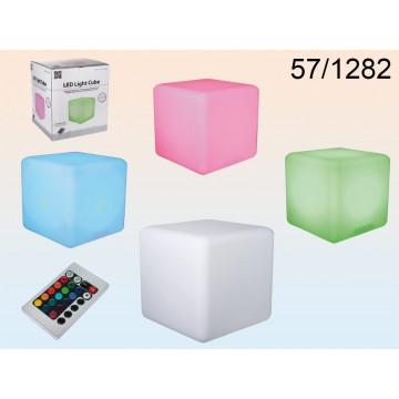 Lampada in plastica, Cubo, con 18 LED cambiacolori, incl. telecomando, batteria ricaricabile & caricabatteria, ca. 30 x 30 cm