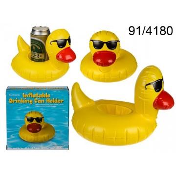 Portabevante gonfiabile, Paperella con occhiali da sole, ca. 22 x 14 cm, 768/PALEAN 4029811391998