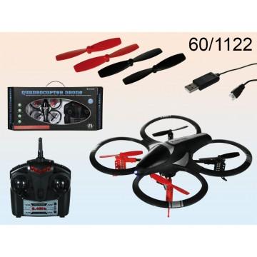 Quadrocopter a telecomando, Drone, con LED, ca. 18 cm, incl. batterie ricaricabile & cavo USB
