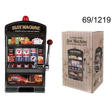 Salvadanaio in plastica con campanello & luce, Slot Machine, ca. 37,5 x 20 cm, necessita 2 pile Mignon (AA)