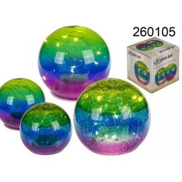 Sfera in vetro colorata con 10 LED, ca. 12 cm, 2 ass., per 3 pile stilo (AA) in confezione box, 216/PALEAN 4029811400393