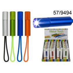 Torcia in metallo con 1 LED (pile incl.) ca. 5,5 cm, 4 colori ass., su blister, 32 pz per display
