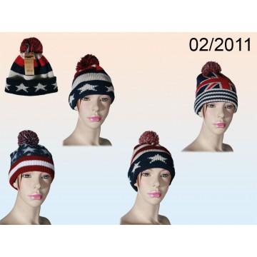 02/2011 - Berretto invernale con fiocco, Stars & Stripes + Union Jack, 100 % acrilico, ca. 76 g, 4 ass., da appendereEAN 402981