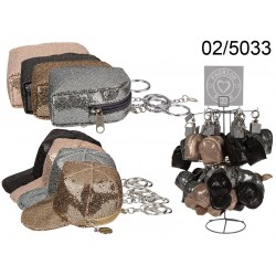 02/5033 - Portamonete glitter con portachiavi in metallo, Basecap & Backpack, 2 ass. & 4 colori ass., 36 pz. su display, 576/PA