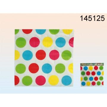 145125 - Tovaglioli di carta bianchi con puntini colorati, ca. 33 x 33 cm, a 3 strati, 20 pz. in sacchetto di plasticaEAN 40298