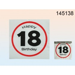 145138 - Tovaglioli di carta, Happy Birthday - 18, ca. 33 x 33 cm, a 3 strati, 20 pz. in sacchetto di plasticaEAN 4029811312689