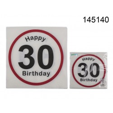 145140 - Tovaglioli di carta, Happy Birthday - 30, ca. 33 x 33 cm, a 3 strati, 20 pz. in sacchetto di plastica, 672/PALEAN 4029