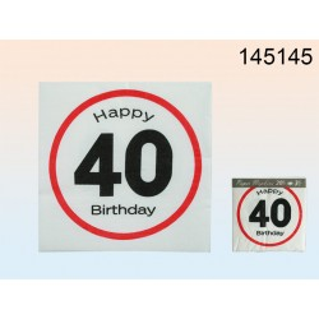 145145 - Tovaglioli di carta, Happy Birthday - 40, ca. 33 x 33 cm, a 3 strati, 20 pz. in sacchetto di plastica, 672/PALEAN 4029