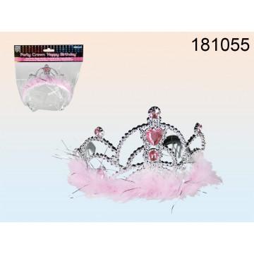 181055 - Corona per party con pietre decorative rosa & peluche, ca. 15 x 11 x 9 cm, in sacchetto di plastica con header cardEAN