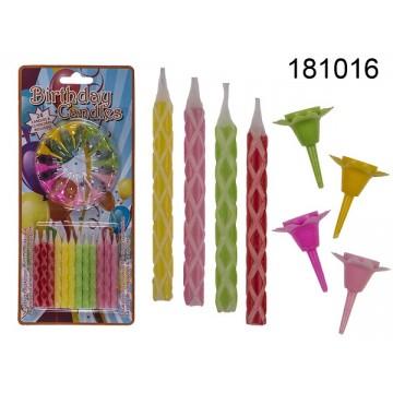 24 candeline di compleanno con 12 portacandeline di plastica, ca. 0,5 x 5,8 cm, 4 colori ass., su blister,