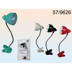 57/9626 - Lampadina da lettura con 2 LED, pile incl., ca. 17 x 5,5 cm, 4 colori ass., su blisterEAN 4029811331734