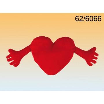 62/6066 - Cuore di peluche rosso con braccia, ca. 70 cm, 480/PALEAN 4029811210787