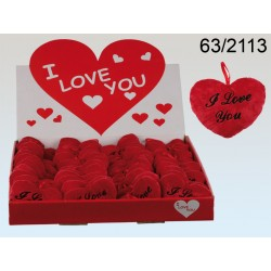 63/2113 - Cuore di peluche rosso, I love you, ca. 10 cm, 48 pz. per displayEAN 4029811145850