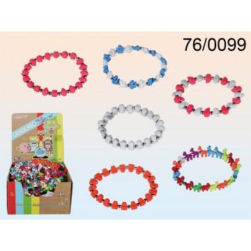 76/0099 - Braccialetto dell' amicizia, Animalz Fluo, 6 ass., 100 pz. per displayEAN 8055002680417