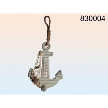 830004 - Termometro in legno color natura, Áncora, rete & decorazione di conchiglie e stella marina, con nastro di iuta da appe