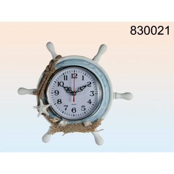 830021 - Orologio rotondo da tavolo in legno, Timone, bianco/blu, 23 x 20 cm, per pile mignon (AA)