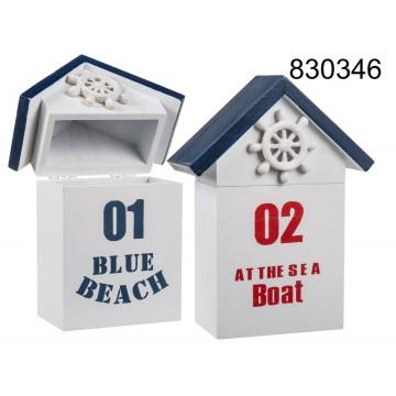 830346 - Scatola in legno, Casa al mare, ca. 15 x 11 cm, 2 ass.EAN 4029811367108