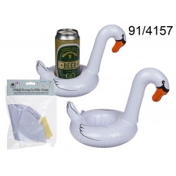 91/4157 - Portalattine gonfiabile, cigno, ca. 18 cm, in borsa di plastica con header card, 10368/PALEAN 4029811371174