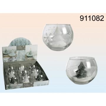 911082 - Candela in vasetto di vetro colorato a mano, Albero di Natale, ca. 10 x 8 cm, 2 colori ass., 9 pz per displayMINIMO 36
