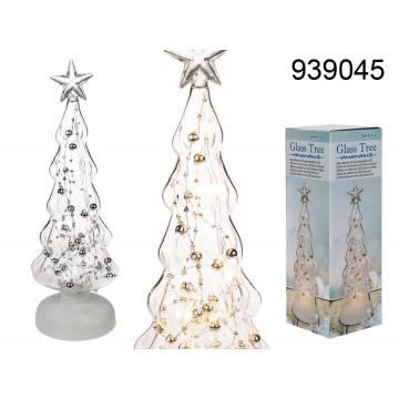 939045 - Albero in vetro con 6 LED bianco caldo & perle argentate, ca. 9 x 30 cm, per 3 pile mignon AA, in confezione regaloMIN