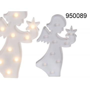 950089 - Angelo bianco in plastica con 9 LED luce calda. ca 28 x 16 cm per 2 pile AA in box pvcMINIMO 12 PEZZIEAN 4029811384822