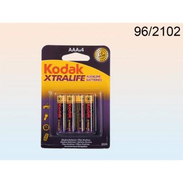 96/2102 - Pile Alkaline Micro, Kodak Xtralife, AAA, 1,5V, 4 pz su blisterEAN 4029811338795