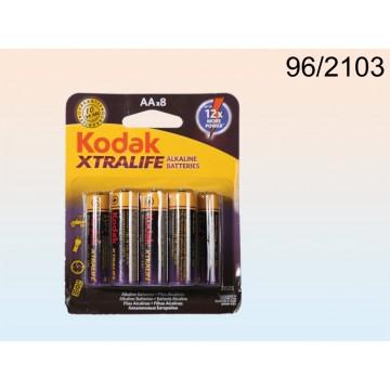 96/2103 - Pile Alkaline Mignon, Kodak Xtralife, AA, 1,5V, 8 pz su blisterEAN 4029811338801
