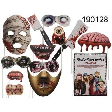 Accessori da party in carta su bastoncino, Halloween, set da 12 in sacchetto di plastica con cartoncino, 1440/PALEAN 4029811385