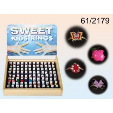 Anelli di metallo, Sweet Kids con motivi colorati,  16 ass., 96 pz. per display, 19200/PALEAN 4029811154197