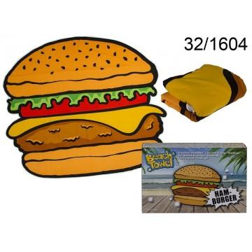 Asciugamano da spiaggia, Hamburger, materiale: microfibra, ca. 120 x 170 cm, 250