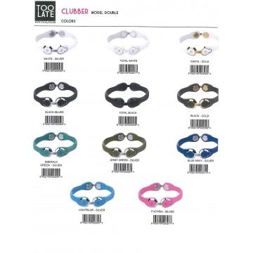 bracciale toolate clubber doppio, 3 misure (s,m,l), disponibili in espositore da banco 20 pz, colori ass.ti (prezzo al pubblico
