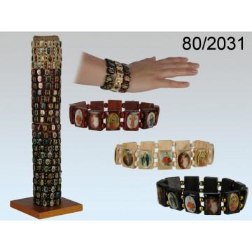 braccialetto in legno con motivi religiosi 3 colori ass.144pz. x display