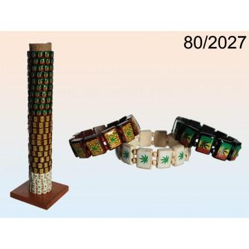 """braccialetto in legno""""cannabis""""3 colori ass.,144 pz.x display"""