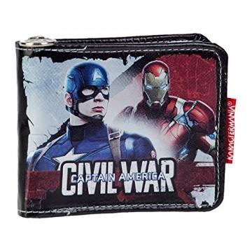 captain america portafoglio zip civil war 11 x 12 x 1,5 cm