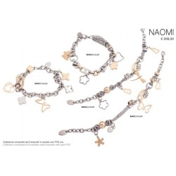 Collezione composta da 8 bracciali in acciaio con pvd in oro euro cad 13,00 consigliato al pubblico 26,00 tutti con scatola e b