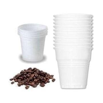 conf . 100 bicchieri bianchi in plastica per caffè 80cc.