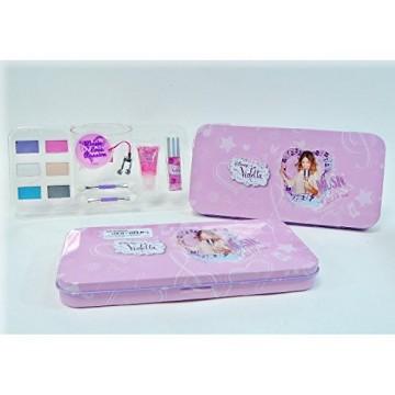 Conf. regalo in latta Violetta, contiene 2 lipgloss, 6 ombretti, 2 applicatori per trucco e uno specchietto tascabile con un ch