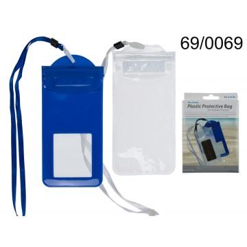 Custodia in plastica per cellulari, ca. 21 x 11 cm, con cordicella, 2 colori ass.