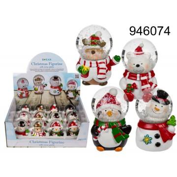 Figurina natalizia in poliresina con palla di neve, ca. 7 x 5 cm, 4 ass., 12 pz. per displayMINIMO 48 PEZZIEAN 4029811337156