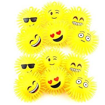 fluffy flashing ball smile con luce led