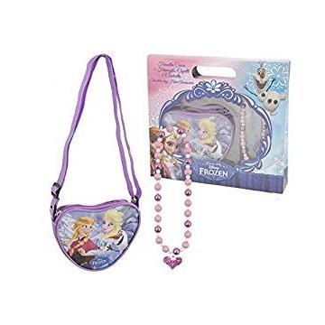 Kit Frozen tracolla cuore con glitter piu' collana in scatola regalo