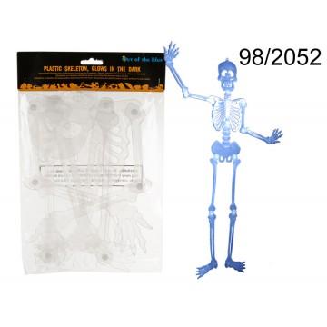 Scheletro in plastica da appendere, fluorescente nel buio, ca. 90 cm EAN 4029811356621