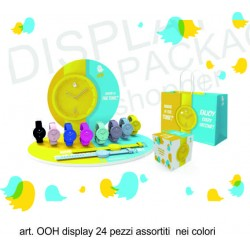 Orologio in silicone color ooh display 24 pezzi assortiti prezzo al pubblico 19,00 euro cad con scatola e borsetta omaggio